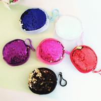 Sequin ronde Porte-monnaie Porte-monnaie Mini filles Changer l'argent stockage Keychain Parti Sac Favor Fille Keyring Keyholder sac cadeau 9 couleurs