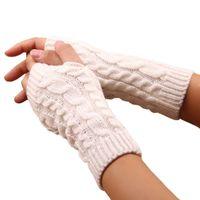 خمسة أصابع قفازات المرأة أنيق اليد أدفأ الشتاء الذراع الكروشيه الحياكة فو الصوف القفيفة الدافئة أصابع عالية الجودة