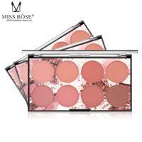 Miss rose 8 colors face blusher palette natural peach color pigment powder waterproof long lasting contour makeup powder
