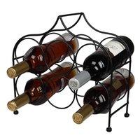 Porte-bouteille de vin autonome Waco, support de vin blanc de table de comptoir pour 6 bouteilles, poignée robuste Simple Assembly Metal Black