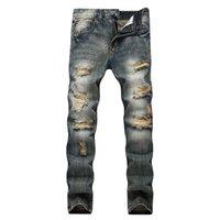 Erkekler düz kot marka motosiklet kot kaya hip hop gündelik kot sıkıntı erkekleri artı boyutu yırtık pantolon delik