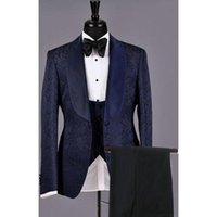 Elegant Wedding Suit Men Navy Blue Paisley Printed Tuxedo Groomsmen Groom Men Suits For Wedding Shawl Collar Mens suits