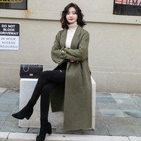 Lã das mulheres mistura casaco de lã feminino longa seção 2021 outono e inverno versão coreana do tempero no joelho