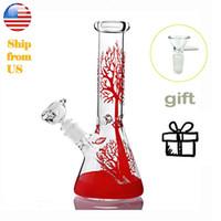 Árvore vermelha de 11 polegadas Água de vidro exclusivo Bongo de vidro de vidro Bongo tubulação de tubos de cachimbo de água em linha de cachimbo de cachorro com coletor de gelo downstem 14mm tigela presente livre