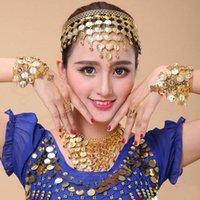 Stage Wear 4 Pcs Gypsy Belly Dance Jewelry Set Necklace Earrings Bracelet Dancing