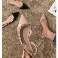 Women Sandals Summer 2020 Female Shoes Woman Flats Pointed Toe Fashion Ladies Rivets Dress Shoes Slides Sandals Lady For Women
