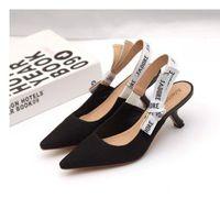 Горячий Сбывание Письмо Bow Knot Туфли на высоких каблуках Женщины Подиум острым носом низкий каблук обувь женщина Gladiaor сандалии Ледибранд дизайн сетки плоские туфли
