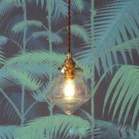 Новая латунь стекла водить люстра Простой зажигает ретро ресторан спальни светодиодных личностей взорваны пузырь стек подвесные светильники света бара