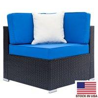 Top Indoor Voll ausgestattete Weberei Rattan Sofa Sets mit 2 stücke Ecke 1 stücke Einzelne Sofas 1 Stück Couchtisch BLUE MÖBEL SET