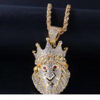 Il nuovo modo oro bianco oro ghiacciato fuori CZ Cubic Zirconia Crown Leone collana di lusso del Mens catena Designer pieno di diamanti gioielli Hip Hop Uomo
