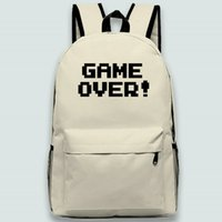 Game over backpack Cool words day pack Good quality school bag Print packsack Quality rucksack Sport schoolbag Outdoor daypack