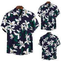2020 yeni erkek bahar ve yaz trendi moda karakteristik plaj tatili tarzı yüksek kaliteli ipek pamuk kısa kollu yaka gömlek