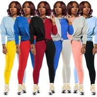 النساء رياضية المصممين طويل الأكمام تي شيرت سروال اللباس الخريف أزياء الشتاء تباين الألوان المرقعة الرياضة قطعتين بدلة D82408