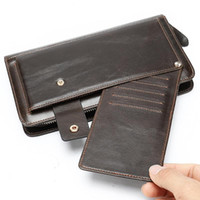 Handmade leather wallet, male long trend zip wallet, vintage do old cowhide High-Capacity Multi-Card Bit Long Wallet Clutch Men