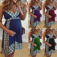 Ärmellos V-Ausschnitt-Kleid-Mode-Frauen-Kleider Vintage-Printed Designer-Frauen-Kleider Schwangerschaft beiläufiges reizvolles dünnes Sling
