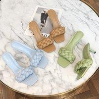Moda Donna diapositive tacco basso elegante signore scarpe da ballo Summer Open Toe in pelle pantofole Weave Sandales FemmesMultifunction