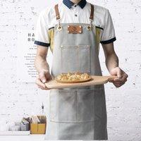 جميل الدينيم ساحة الطبخ المرايل العمل قابل للتعديل أكمام جلدية حقيقية حزام الرجال النساء الحلاق مقهى مطعم للجنسين