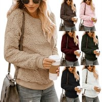 E-Baihui 2021 Autumn and Winter Thread Stitching Tops, Pullover Thick Plush Loose Long-sleeved Long-sleeved Sweater M6601