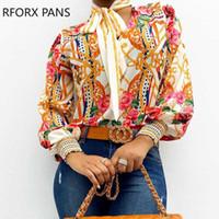 Kadın Gömlek Moda Günlük Stil Eşarp Boyun Barok yazdır Üst Kadınlar Tops ve Bluzlar Asya Boyut S-XL