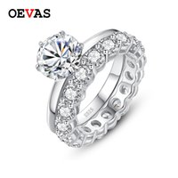 OEVAS real 2 s anéis nupciais Moissanite definir Top Quality 100% 925 prata esterlina noivado Wedding Party Belas Jóias Presentes