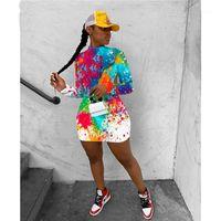 Шея с длинным рукавом Backless Graffiti Печать Платье Мода Повседневная женщина одежда Женская Дизайнерская Мини платья Sexy Crew