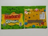 4 Renkler Starburst Gummies Mylar Çanta 408 mg Boş Yerler Paket Fermuar Depolama Kılıfı Kuru Herb Tütün Infüze Gummies Perakende Ambalaj