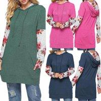 Sonbahar Gevşek Kadın Giyim Çiçek Baskılı Bayan Tasarımcı tişörtleri Kasetli Kapşonlu Uzun Kollu Bayan Moda Tops