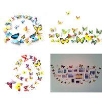 12Pcs / lot creativo del PVC della farfalla 3D adesivi murali Fridge Magnet Wall Sticker fai da te per la casa d'arte per bambini Camere Decoration