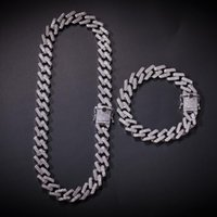 Hip hop Necklace Strip Miami Cuban Chain Zircon- studded Hip-...