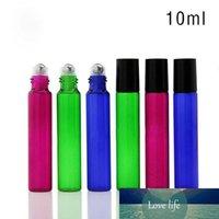 1100PCS / lot 10ml leere Glasrolle auf Flasche, Blau, Grün Rose Red Rollerflaschen für Ätherisches Öl, Aromatherapie, Parfüm und Lippenbalsam