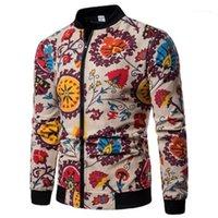 Осень Верхней одежда Мужская Модельер куртка Роскошная Этнический стиль цветочного длинный рукав бейсбол пальто новых люди зима