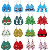 여성 크리스마스 매력 귀걸이 패션 쥬얼리 귀여운 크리스마스 트리 사슴 Santas 인쇄 가죽 귀걸이 크리스마스 쥬얼리