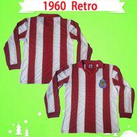 Rétro 1960 manches longues Chivas Guadalajara Soccer Jerseys Full Vintage Classic Football Chemises de collection Antique Uniformes Accueil Rouge Blanc