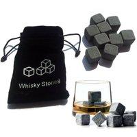 Natursteine 9pcs / set Whisky-Steine Cooler Rock-Speckstein Eiswürfel mit Samt Aufbewahrungstasche Bar Werkzeuge OOA9023