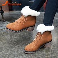 Karin 2020 New Arrivals Large Size 43 Add Fur Warm Winter Snow Boots Woman Shoes Chunky Heels Lace Up Fashion Boots Female