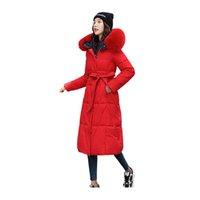 Женщины Parkas с женщинами X-Long Зимнее Куртка Обратимая воротник с капюшоном с капюшоном с капюшоном Измеренный ветрозащищенный пальто