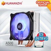 Raffreddamento per ventilatori Huananzhi A500 4 Tubo di calore in rame LED CPU Cooler Radiante Ventola Radiatore Dual HeatSink Dual HeatSink con E5 2678 V3 Kit Combo Set