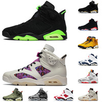 TOP Jumpman 6s los zapatos de baloncesto del mens Travis Scott Hare 6 verde eléctrico Quai 54 DMP 2020 infrarrojos Negro retro de las zapatillas de deporte para mujer de Gatorade