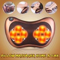 Elétrica 8 rolos de massagem Pillow Vibrador ombro para trás Aquecimento Amassar infravermelho terapia travesseiro shiatsu Neck Massager