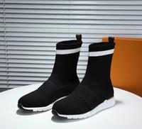 상자 패션 여성 실루엣 발목 부츠 블랙 마틴 부츠 여성 높은 뒤꿈치 양말 부츠 자수 스트레치 섬유 디자이너 신발