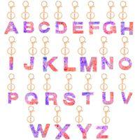 Блеск Подвеска Key Chain Акриловые брелок от А до Z Keyrings Luxury Key Ring Charm сумка Sequined 26 Letters держатель ключа аксессуары E92101