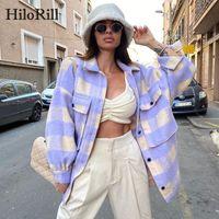 Hilorill Femmes manteau à carreaux de laine avec poches battwing manches longues veste vernis retournez le collier décontracté dames Tops Outerwear 200922