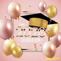 Antecedentes Laeacco rosa para la fotografía globos fiesta de graduación de 2020 Licenciatura cartel de la foto del niño contexto Photo Studio