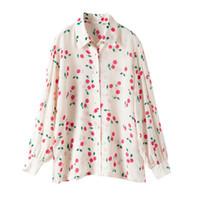 100 % 실크 블라우스 브랜드 패션 여성 하이 엔드 럭셔리 봄 우아한 벚꽃 인쇄 실크 셔츠 최고