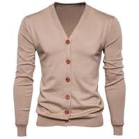 Feitong otoño hombres suéter botón casual con cuello en V suéteres de algodón de manga larga chaqueta de punto Slim Fit Tire Homme multicolor L18100803