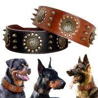 Grande de cuero collar de perro Pitbull tachonado claveteado de los collares para perros grandes Mediana Grande durable del cuero genuino collar del animal doméstico de Brown