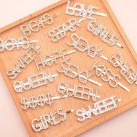 Engelska alfabetet hårnål brev ord rhinestone kristall hairclips hår clip grepp stift barette tjejer hår tillbehör ooa8326