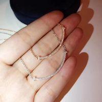 S925 Silber luxuriöse Qualität Lächeln Halskette mit Diamanten in 18 Karat vergoldete und silberne Farbe Frauen Charme Schmucksachen freie PS70 Versand