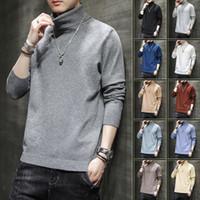 Свитер с высоким воротником Мужская свободная осень зимний тренд Multi Color Trial Tops Fashion Brand Pullover M-5XL