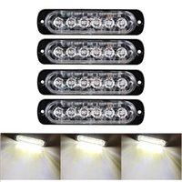 Предупреждение автомобилей Белый Strobe свет водить 6 СИД Строб сигнал свет бар охранной сигнализации вспышки проблесковый лампы поверхностного монтажа Lighthead лампа 12V-24V
